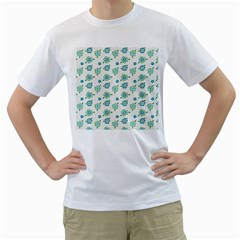 Valentine Chevron Papers Flower Floral Green Flowering Men s T Shirt (white) (two Sided)