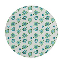 Valentine Chevron Papers Flower Floral Green Flowering Round Ornament (two Sides)