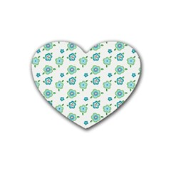 Valentine Chevron Papers Flower Floral Green Flowering Heart Coaster (4 Pack)  by AnjaniArt