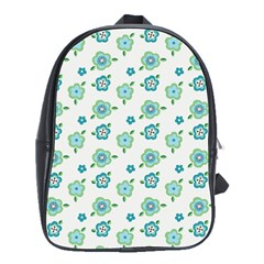 Valentine Chevron Papers Flower Floral Green Flowering School Bags(large)