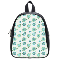 Valentine Chevron Papers Flower Floral Green Flowering School Bags (small)  by AnjaniArt