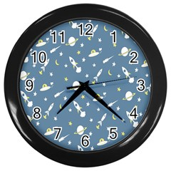 Twiddy Space Saturnus Plane Star Month Rocket Blue Sky Wall Clocks (black) by AnjaniArt