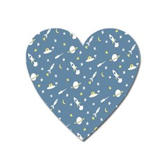 Twiddy Space Saturnus Plane Star Month Rocket Blue Sky Heart Magnet by AnjaniArt