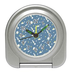 Twiddy Space Saturnus Plane Star Month Rocket Blue Sky Travel Alarm Clocks by AnjaniArt