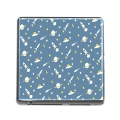 Twiddy Space Saturnus Plane Star Month Rocket Blue Sky Memory Card Reader (square) by AnjaniArt