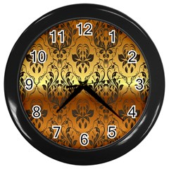 Vintage Gold Gradient Golden Resolution Wall Clocks (black) by AnjaniArt