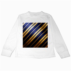 Wave Blue Gold Kids Long Sleeve T Shirts by AnjaniArt