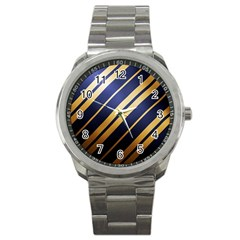 Wave Blue Gold Sport Metal Watch by AnjaniArt
