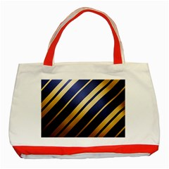 Wave Blue Gold Classic Tote Bag (red) by AnjaniArt