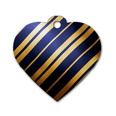 Wave Blue Gold Dog Tag Heart (one Side)
