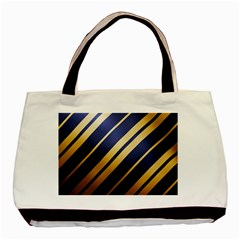 Wave Blue Gold Basic Tote Bag (two Sides)