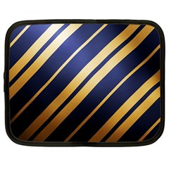 Wave Blue Gold Netbook Case (large) by AnjaniArt