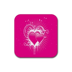 Valentine Floral Heart Pink Rubber Coaster (square)  by AnjaniArt