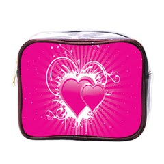 Valentine Floral Heart Pink Mini Toiletries Bags by AnjaniArt