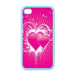 Valentine Floral Heart Pink Apple Iphone 4 Case (color)