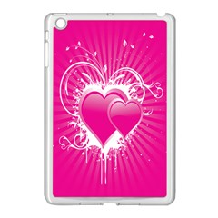 Valentine Floral Heart Pink Apple Ipad Mini Case (white) by AnjaniArt