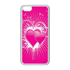 Valentine Floral Heart Pink Apple Iphone 5c Seamless Case (white) by AnjaniArt
