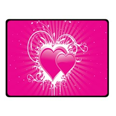 Valentine Floral Heart Pink Double Sided Fleece Blanket (small)  by AnjaniArt