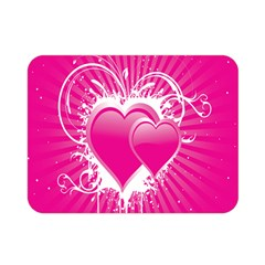 Valentine Floral Heart Pink Double Sided Flano Blanket (mini)
