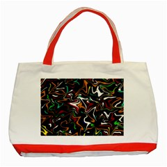 Wave Zig Zag Classic Tote Bag (red) by AnjaniArt