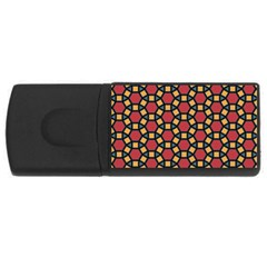 Tiling Flower Star Red Usb Flash Drive Rectangular (4 Gb) by AnjaniArt
