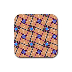 Wallpaper Overlaid Brown Line Purple Blue Box Rubber Square Coaster (4 Pack)