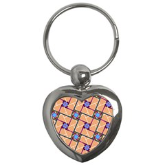 Wallpaper Overlaid Brown Line Purple Blue Box Key Chains (heart)  by AnjaniArt