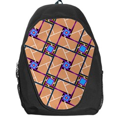 Wallpaper Overlaid Brown Line Purple Blue Box Backpack Bag by AnjaniArt