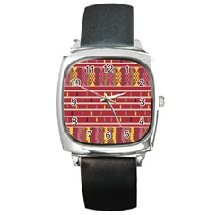 Woven Fabric Pink Square Metal Watch by AnjaniArt