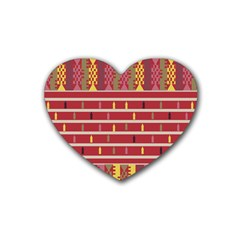 Woven Fabric Pink Heart Coaster (4 Pack)