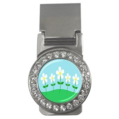 Flower Floral Blue Sky Green Leaf Money Clips (cz)