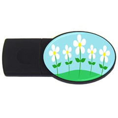 Flower Floral Blue Sky Green Leaf Usb Flash Drive Oval (2 Gb) by AnjaniArt