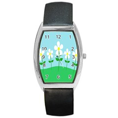 Flower Floral Blue Sky Green Leaf Barrel Style Metal Watch