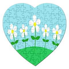 Flower Floral Blue Sky Green Leaf Jigsaw Puzzle (heart)