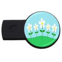 Flower Floral Blue Sky Green Leaf Usb Flash Drive Round (4 Gb) by AnjaniArt