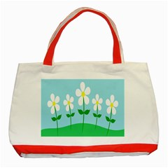 Flower Floral Blue Sky Green Leaf Classic Tote Bag (red) by AnjaniArt