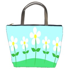 Flower Floral Blue Sky Green Leaf Bucket Bags by AnjaniArt