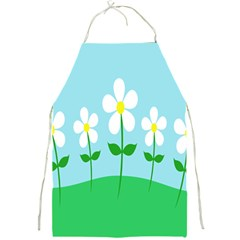 Flower Floral Blue Sky Green Leaf Full Print Aprons by AnjaniArt