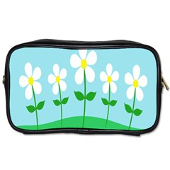 Flower Floral Blue Sky Green Leaf Toiletries Bags 2 Side by AnjaniArt