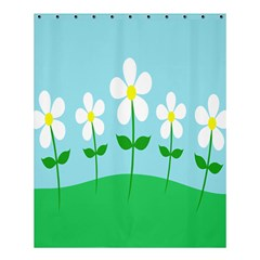 Flower Floral Blue Sky Green Leaf Shower Curtain 60  X 72  (medium)  by AnjaniArt