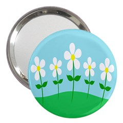 Flower Floral Blue Sky Green Leaf 3  Handbag Mirrors by AnjaniArt