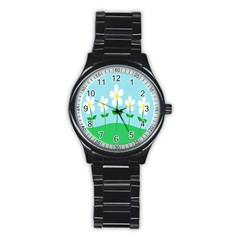 Flower Floral Blue Sky Green Leaf Stainless Steel Round Watch