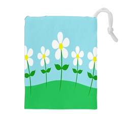 Flower Floral Blue Sky Green Leaf Drawstring Pouches (extra Large) by AnjaniArt