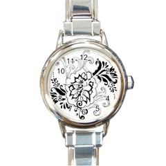 Free Floral Decorative Round Italian Charm Watch