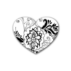 Free Floral Decorative Heart Coaster (4 Pack)  by AnjaniArt