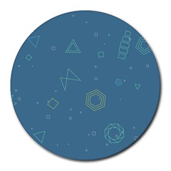 Geometric Debris In Space Blue Round Mousepads by AnjaniArt