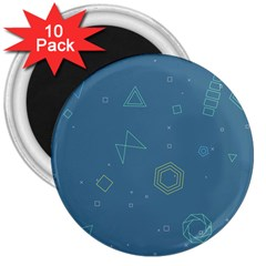 Geometric Debris In Space Blue 3  Magnets (10 Pack)