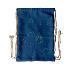 Geometric Debris In Space Blue Drawstring Bag (small) by AnjaniArt