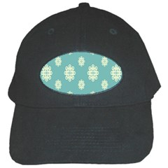 Geometric Snowflake Retro Snow Blue Black Cap by AnjaniArt
