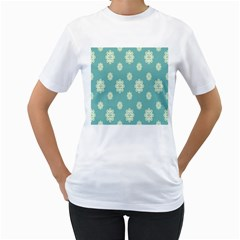 Geometric Snowflake Retro Snow Blue Women s T-shirt (white) (two Sided) by AnjaniArt